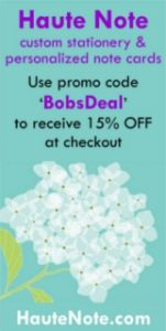 Haute Note Personalized Cards & Notes - Discount Coupon Code - BobSongs.com